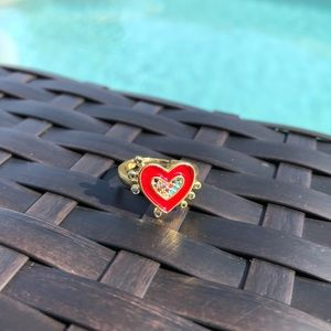 Red Heart & Multicolored Stone Adjustable Ring NWT
